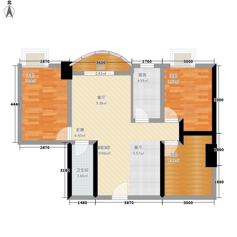 龙津花园紫荆阁104.21㎡A3户型3室2厅
