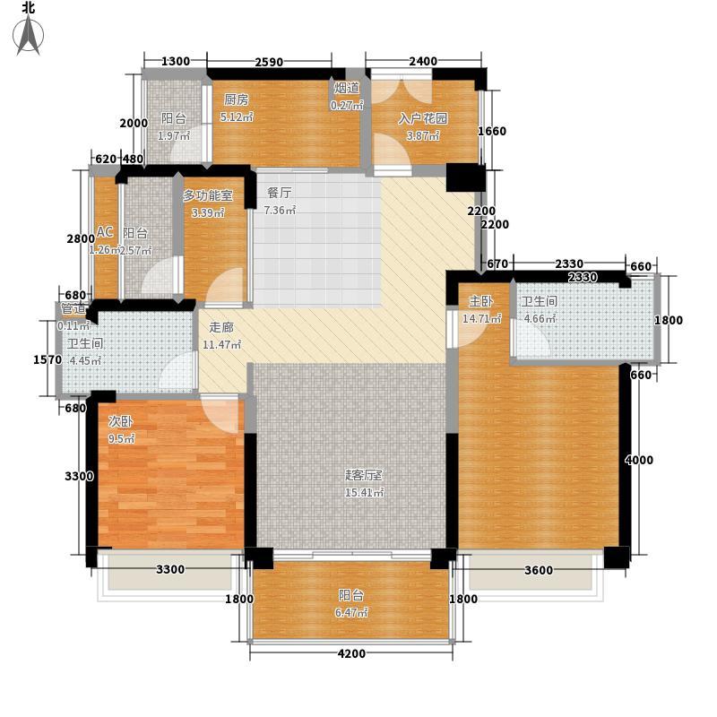 颐安都会中央113.00㎡3栋BC单元C偶数层平面图户型3室2厅