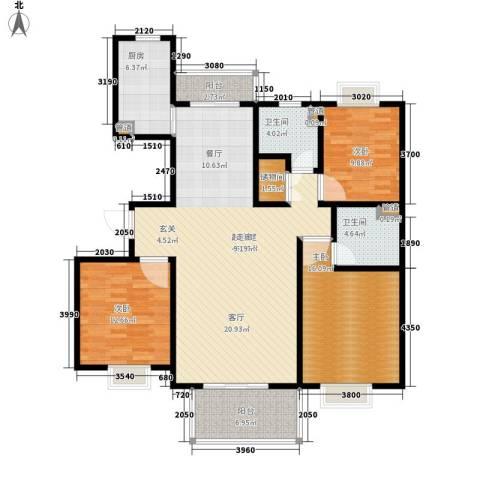 爵仕悦恒大国际公寓3室0厅2卫1厨125.00㎡户型图
