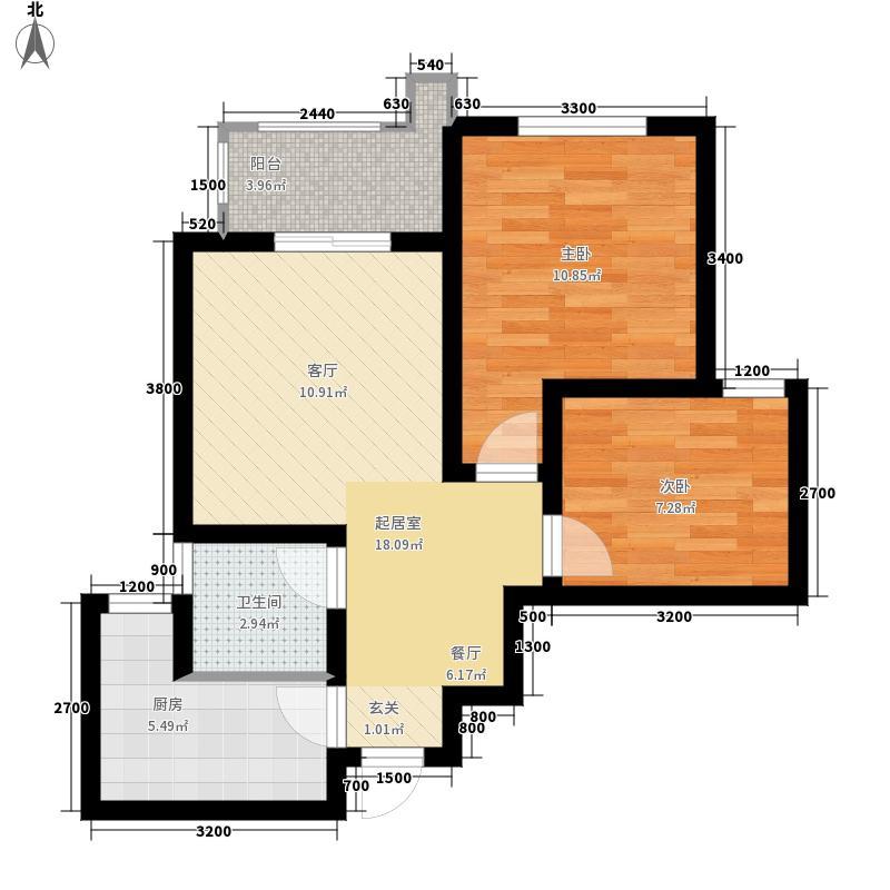 铭城国际社区72.36㎡2期宽境C户型2室2厅