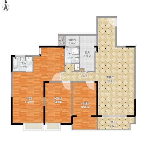 莲丰雅苑二期3室1厅2卫1厨188.00㎡户型图