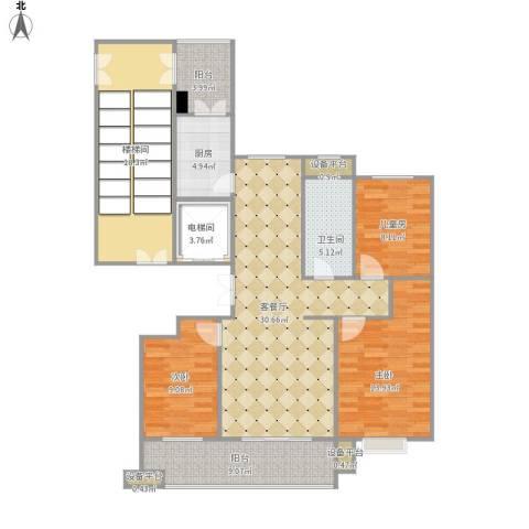 东方丽景3室1厅1卫1厨148.00㎡户型图