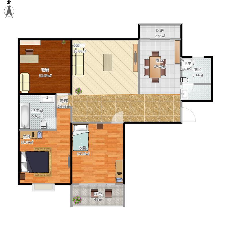 吉祥家园128方B1户型三室两厅