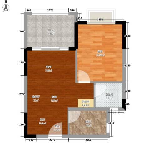 珍珠湾·风情小镇1室1厅1卫1厨55.00㎡户型图