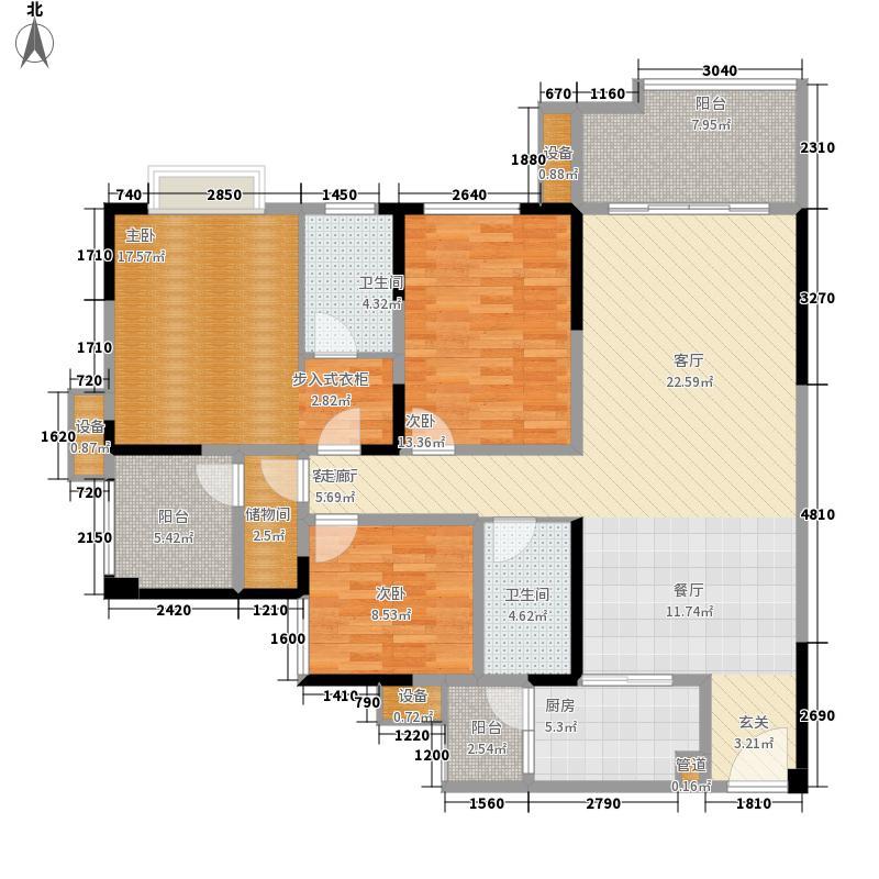 紫御江山121.00㎡紫峰高层3、4号楼标准层F户型