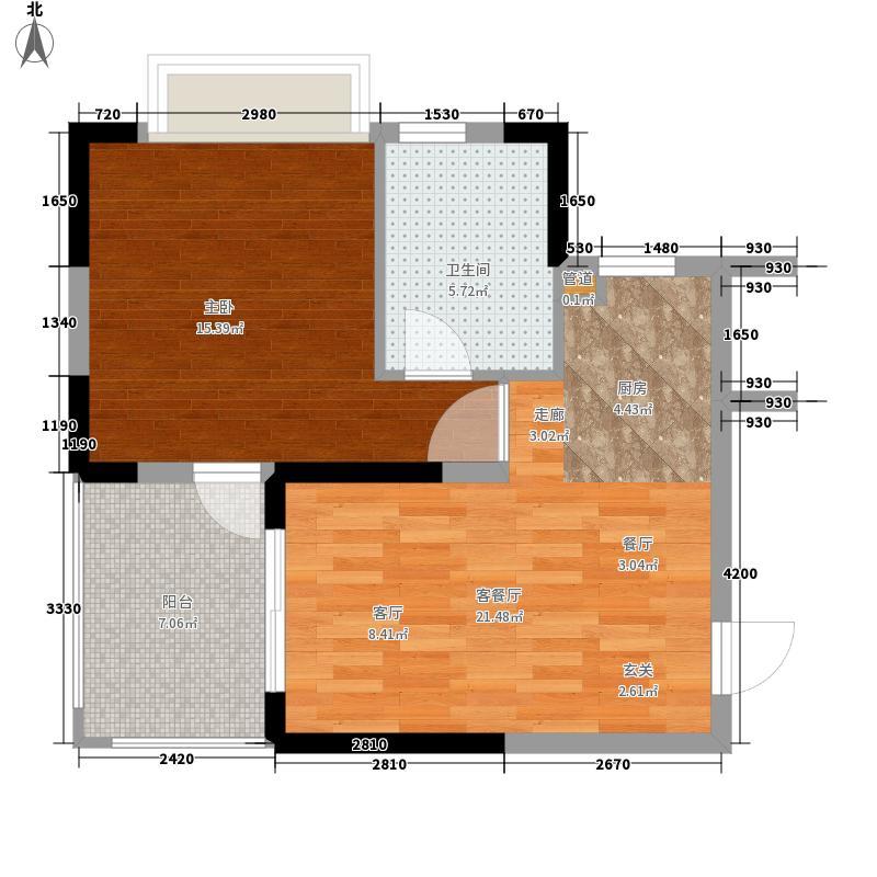 三亚山水国际56.07㎡三期麓园A1  户型1室2厅