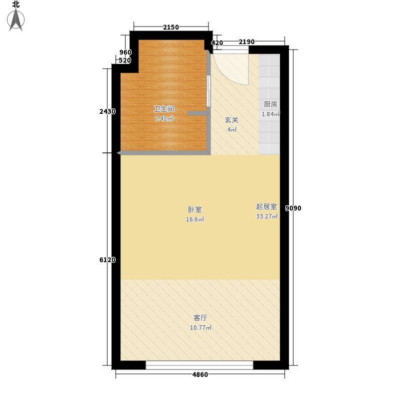 丽晶御筑44.77㎡至4521大一居F户型1室