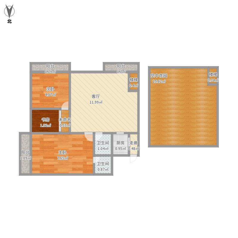 揽湖阁96方三室两厅