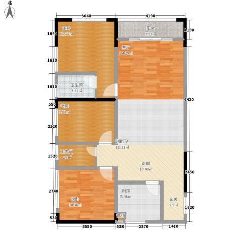 金山广场3室0厅2卫1厨117.00㎡户型图