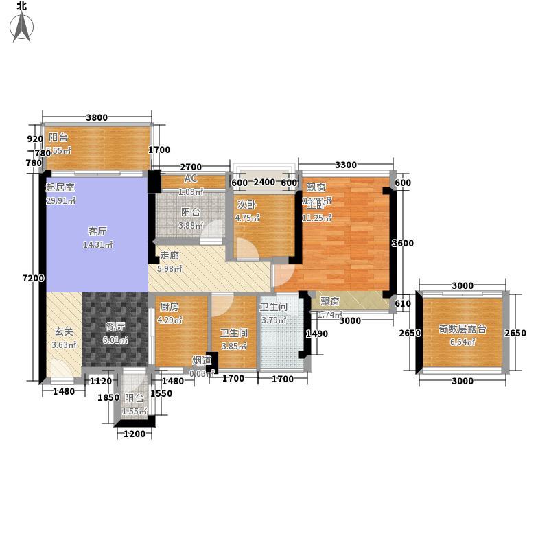 颐安都会中央89.00㎡2栋AB单元AB偶数层平面图户型3室2厅