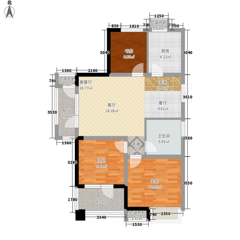海滨御苑90.00㎡A1户型3室2厅