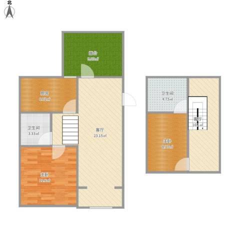 新华联家园2室2厅2卫1厨104.00㎡户型图