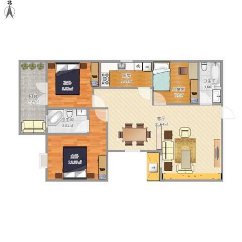 祥和半山墅3室1厅2卫1厨108.00㎡户型图