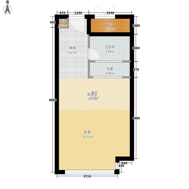 南华乐活城42.06㎡2、3、4#C1户型1室1厅