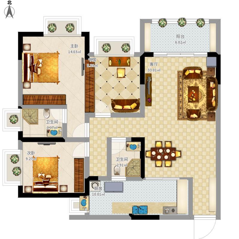 三室二厅二卫建面119M2