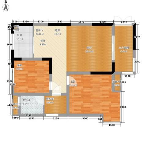 高新锦绣苑2室1厅1卫1厨102.00㎡户型图