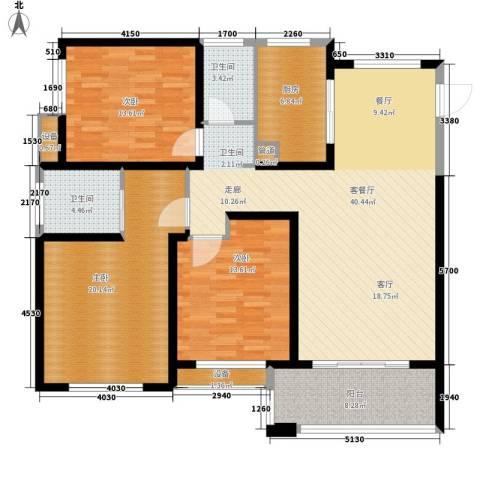 长江国际・朗庭3室1厅2卫1厨125.00㎡户型图