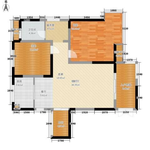 高新锦绣苑2室1厅1卫1厨139.00㎡户型图