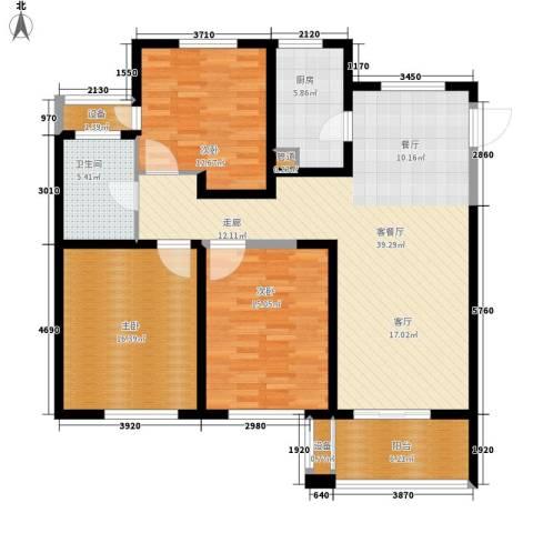 长江国际・朗庭3室1厅1卫1厨118.00㎡户型图