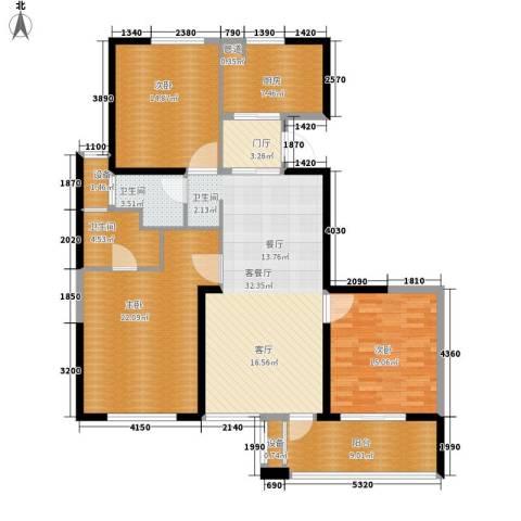 长江国际・朗庭3室1厅2卫1厨130.00㎡户型图