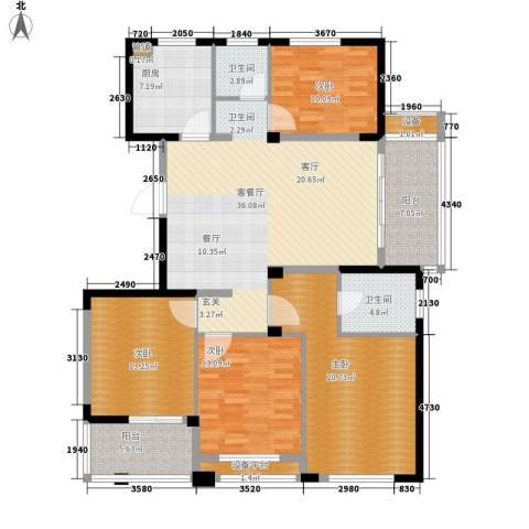 长江国际・朗庭4室1厅2卫1厨140.00㎡户型图
