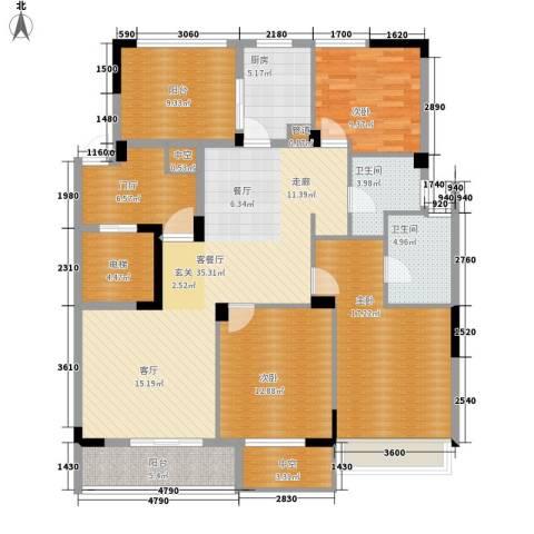长江国际・朗庭3室1厅2卫1厨133.00㎡户型图