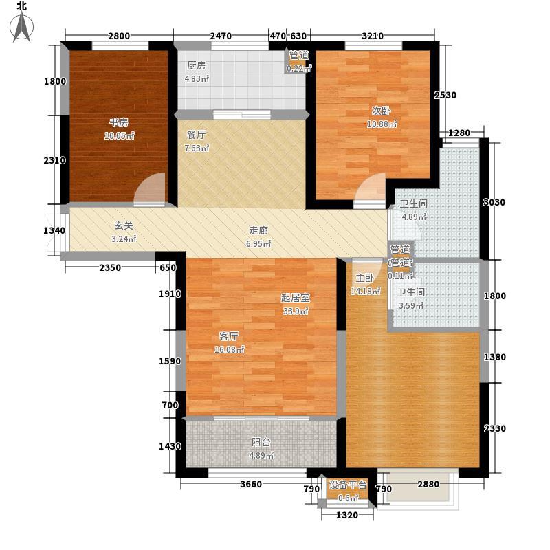 济南鲁能领秀城124.00㎡中央公园东区D户型3室2厅