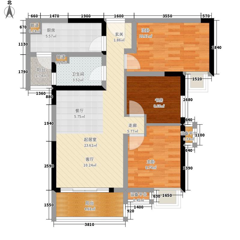 时代南湾92.00㎡的户型3室2厅