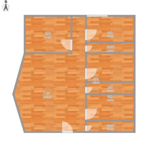亚洲广场4室1厅2卫1厨86.00㎡户型图