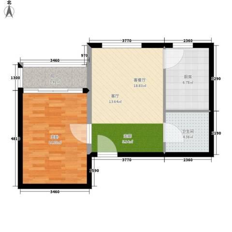 翰林雅居1室1厅1卫1厨55.00㎡户型图