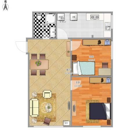 柏悦星城2室1厅1卫1厨100.00㎡户型图