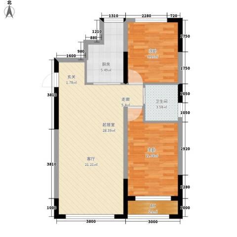 青旅福润家园2室0厅1卫1厨88.00㎡户型图