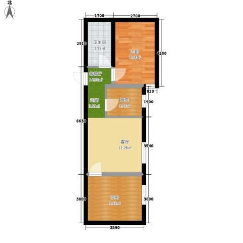 翰林雅居2室1厅1卫1厨61.00㎡户型图