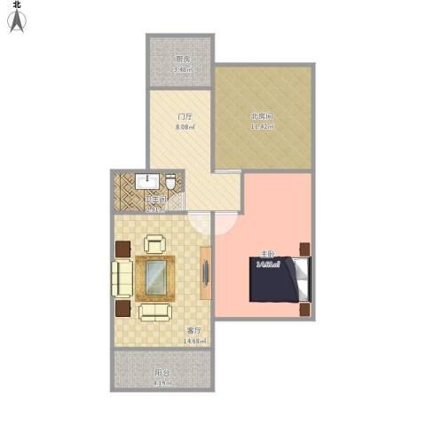 金龙花苑牡丹园1室1厅1卫1厨81.00㎡户型图