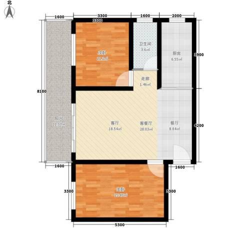 宏鑫锦江国际2室1厅1卫1厨97.00㎡户型图