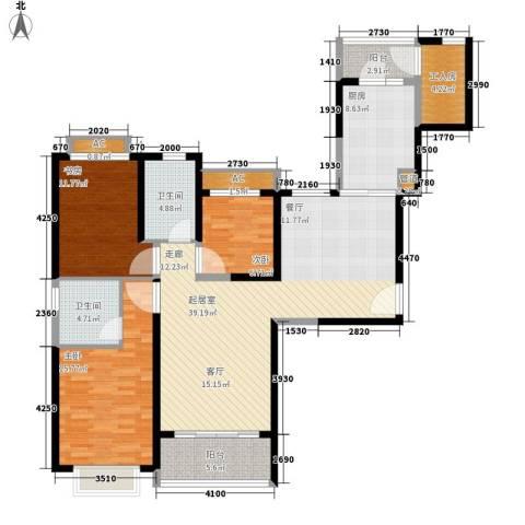 北海恒大名都3室0厅2卫1厨124.00㎡户型图