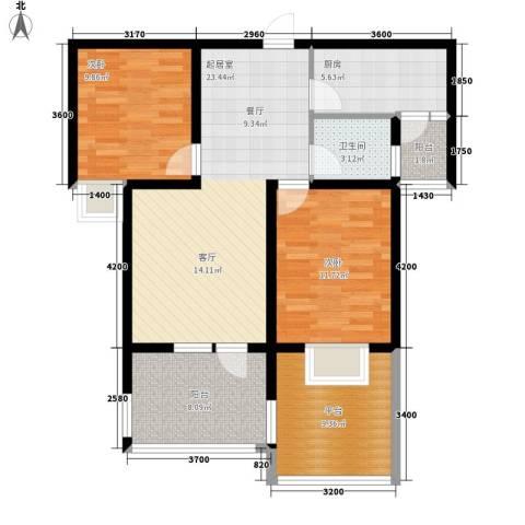 东方太阳城2室0厅1卫1厨84.45㎡户型图