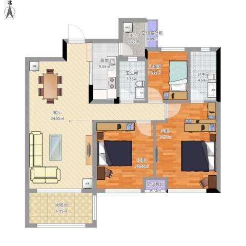 东城四季3室1厅2卫1厨137.00㎡户型图