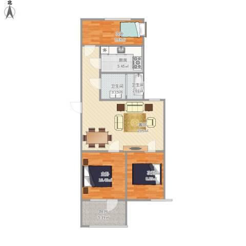 府河小区3室1厅2卫1厨93.00㎡户型图