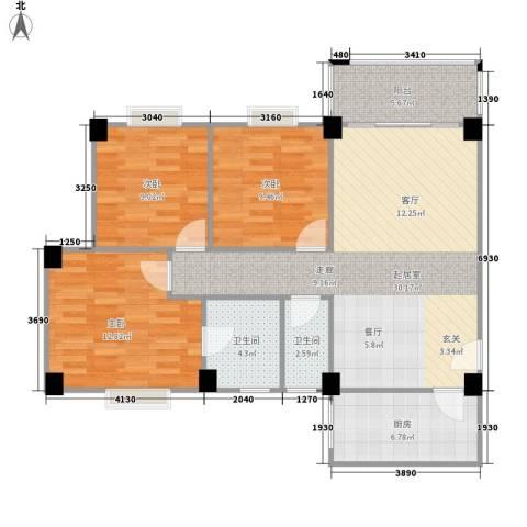 顺景蔷薇山庄4期3室0厅2卫1厨111.00㎡户型图