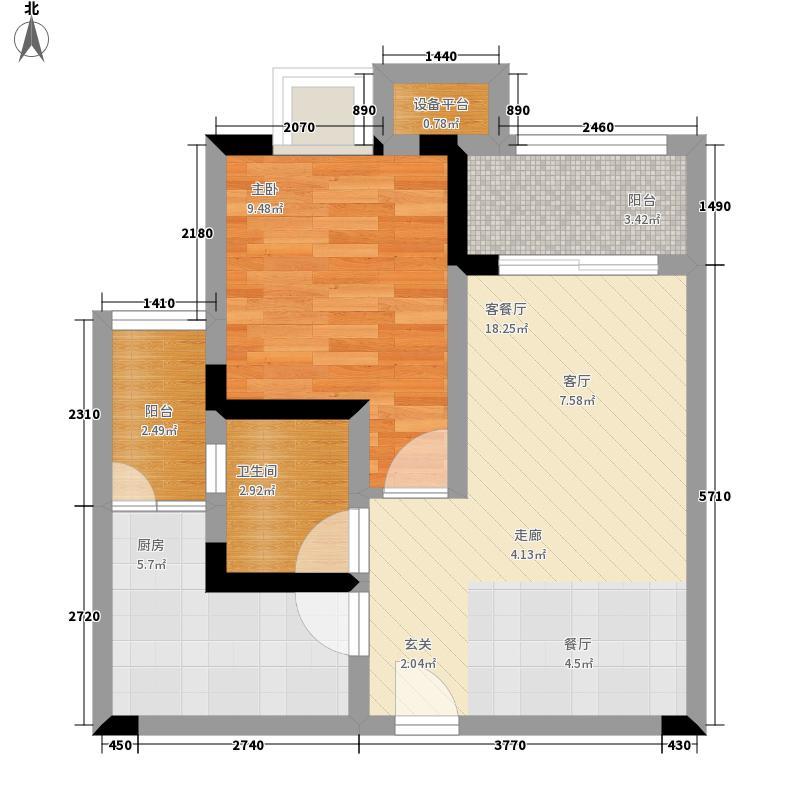 大川滨水城46.21㎡一期A8、A9号楼标准层2号户型