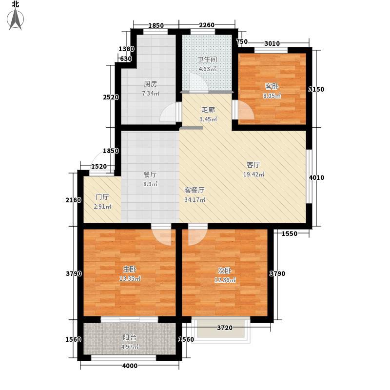 天一锦城97.34㎡多层5、6#F1户型3室2厅