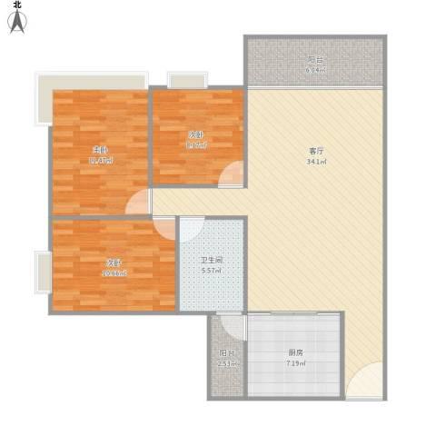 雅居乐・铂爵山3室1厅1卫1厨116.00㎡户型图