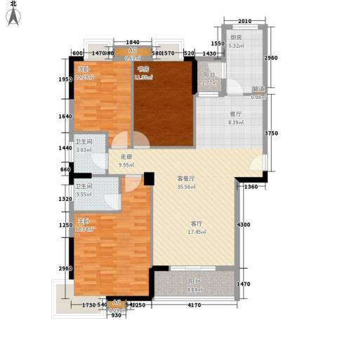 硚口金利屋3室1厅2卫1厨134.00㎡户型图
