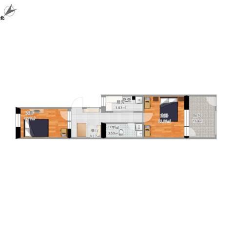 酒仙桥十街坊2室1厅1卫1厨66.00㎡户型图