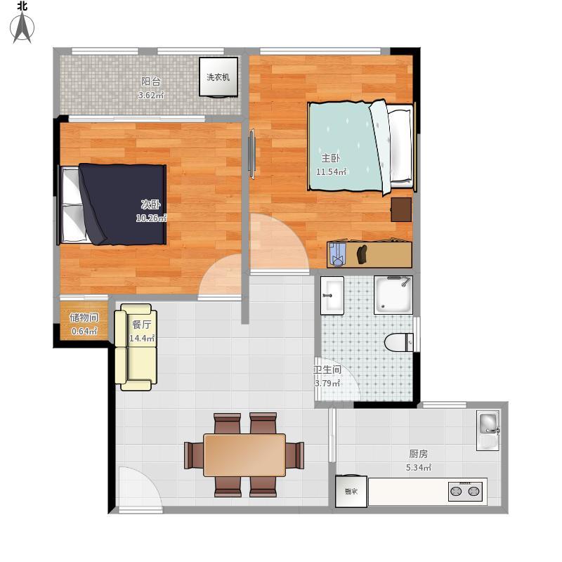 洪盛国际76方两室一厅