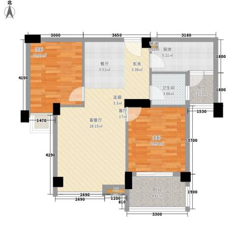 硚口金利屋2室1厅1卫1厨92.00㎡户型图