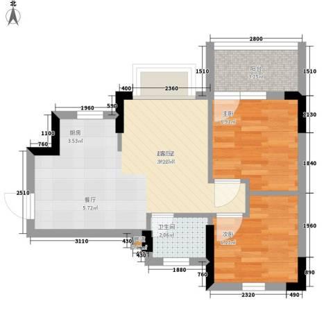 秀乐公馆2室0厅1卫0厨47.00㎡户型图