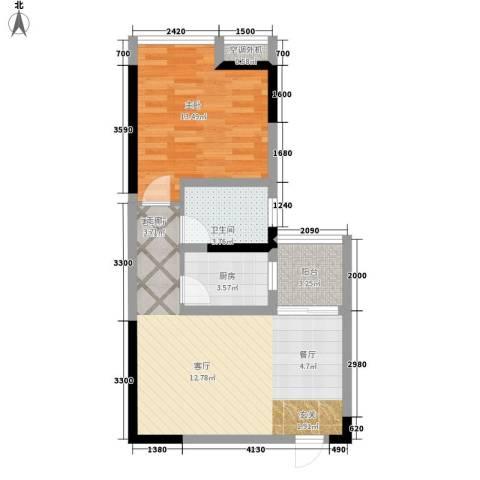 北城旺角1室1厅1卫1厨47.76㎡户型图
