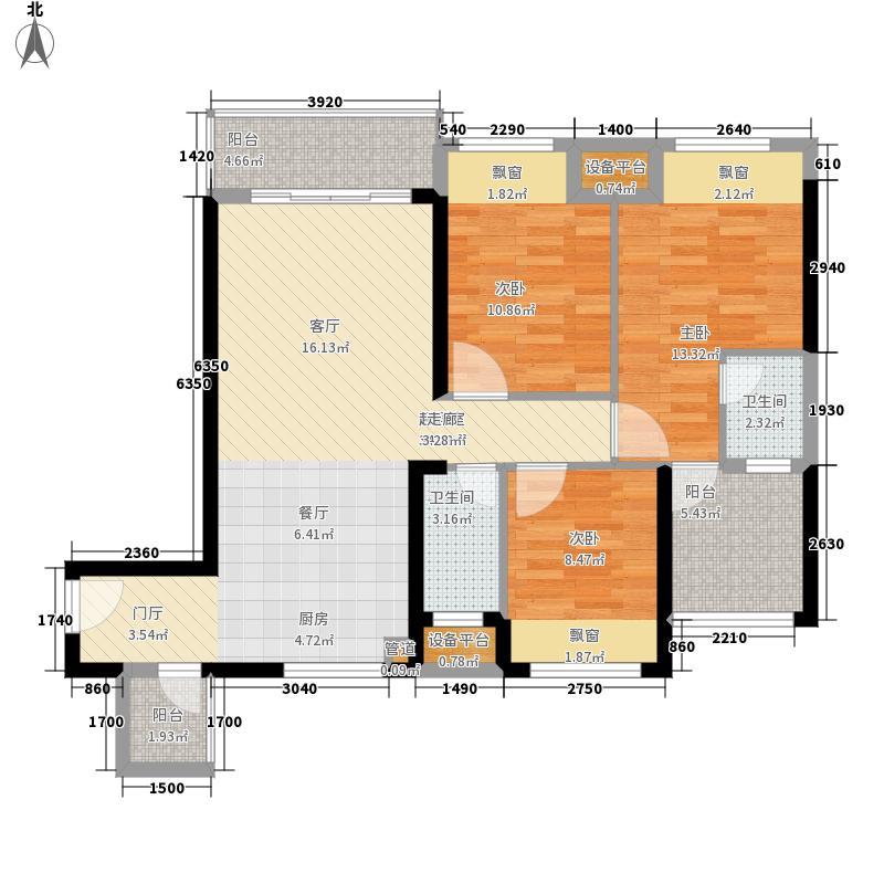 昌泰水立方105.76㎡6#楼E2户型3室2厅